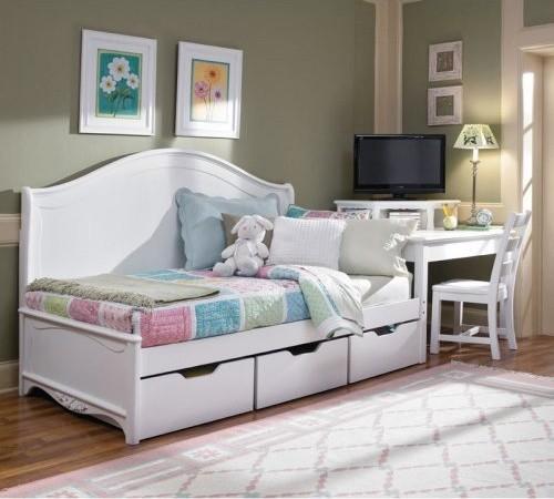 Белая детская кровать с ящиками фото