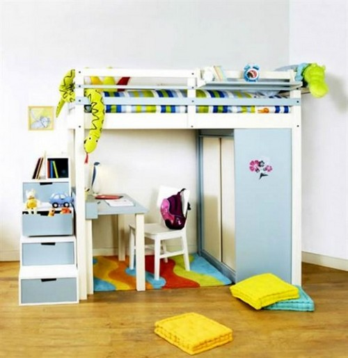 Детская кровать-чердак со шкафом