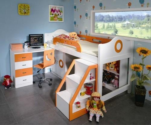 Детская кровать-чердак со шкафом и игровой зоной