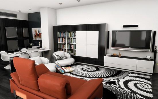 Черно-белый ковер в интерьере гостиной фото
