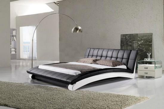 Черно-белая кожаная кровать фото