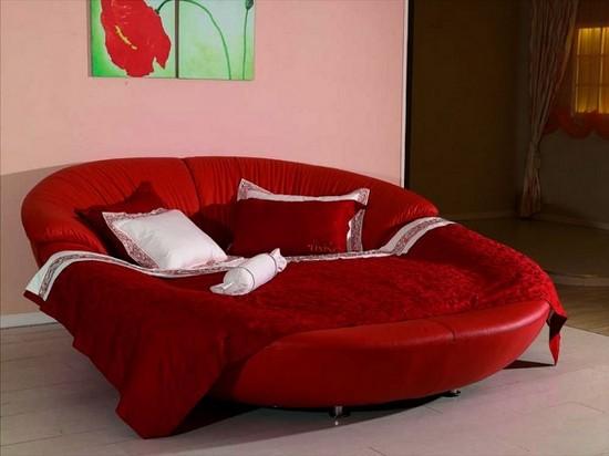 Круглые кожаные кровати красные