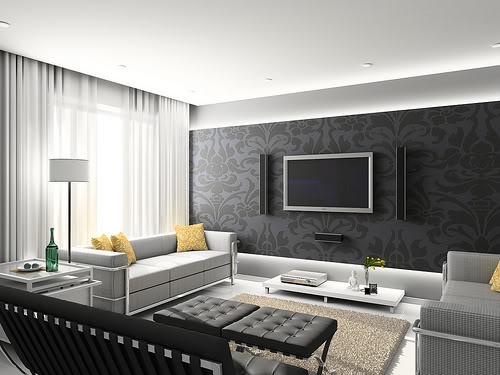 интерьер комнаты в серых тонах
