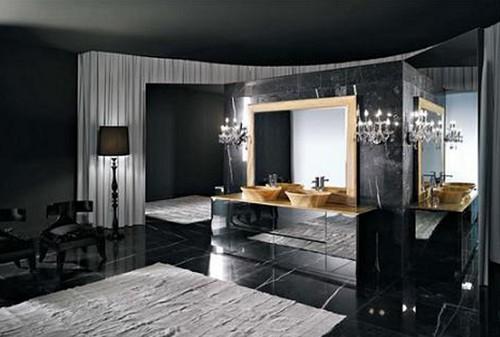 Освещение для черной ванной комнаты