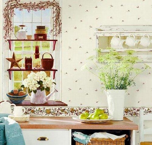 Светлые обои в цветочек для кухни