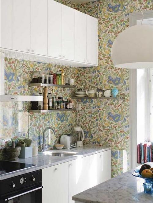 Узорчатые кухонные обои фото