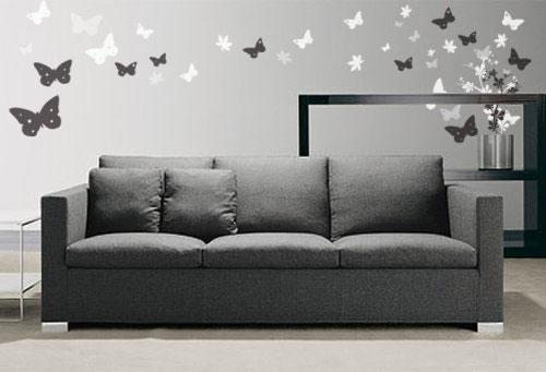 Украшение интерьера гостиной бабочками