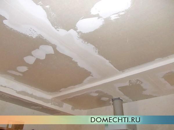 Как ошпаклевать потолок из гипсокартона фото
