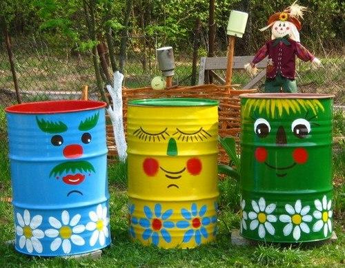 Как украсить садовые бочки фото