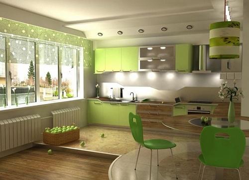 Светло-зеленая кухня для похудения
