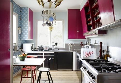 Кухня в розово-серых тонах для похудения