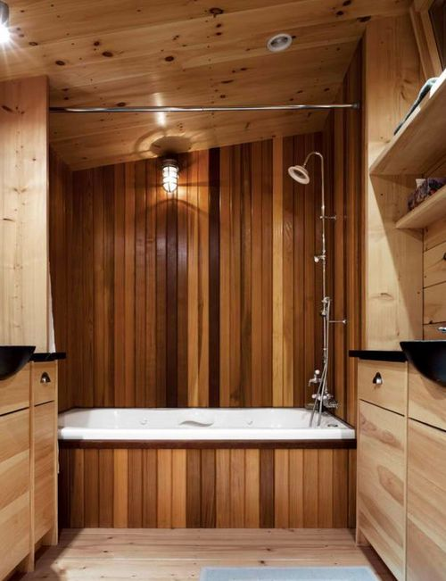 Отделка ванной деревом фото