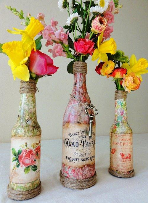Бутылка в стиле шебби шик