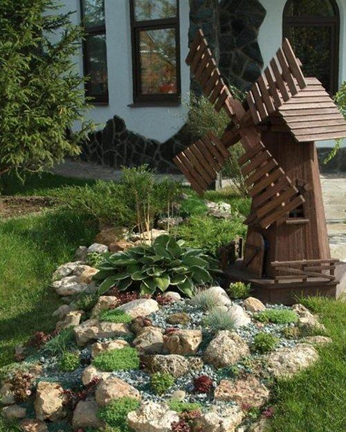 Садовые мельницы в ландшафтном дизайне
