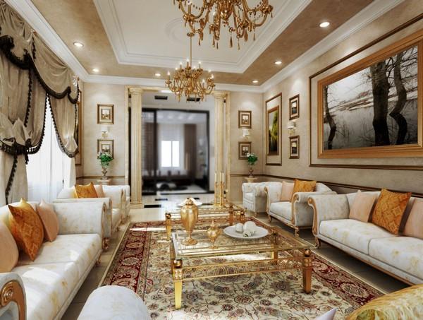 Роскошный классический стиль в интерьере гостиной