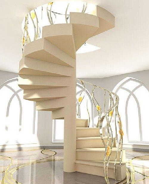 Винтовая лестница с красивыми перилами
