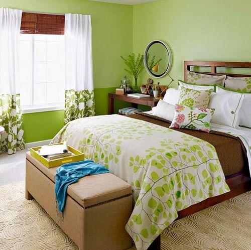 Красивые шторы для зеленой спальни фото
