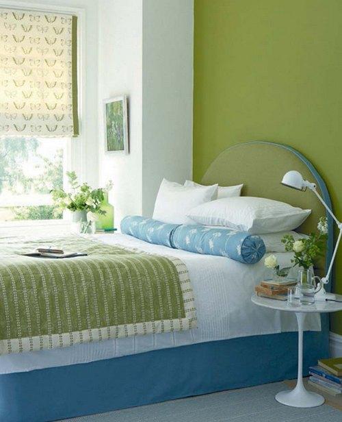 Зеленый цвет в интерьере спальни фото