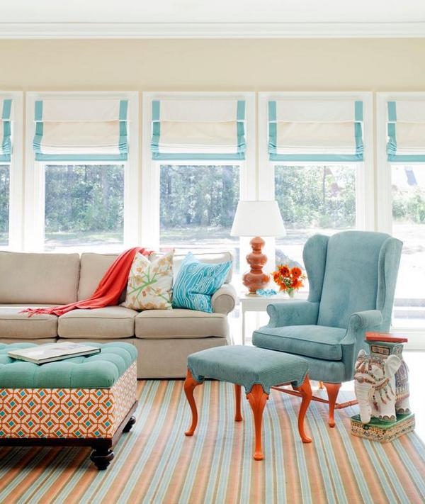 Бирюзовый цвет в гостиной фото