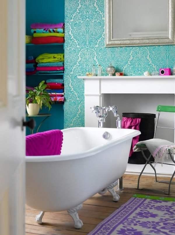 Бирюзовый цвет стен в ванной