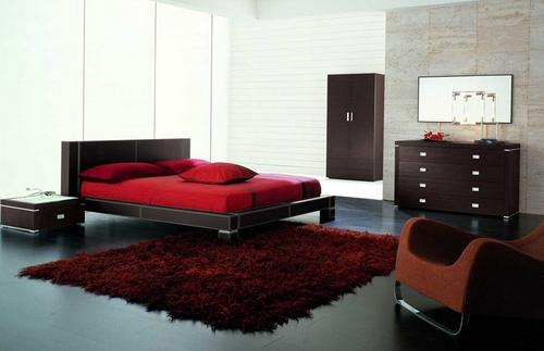 Бордовый цвет в интерьере спальни фото