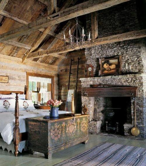 Старый деревенский стиль в спальне фото