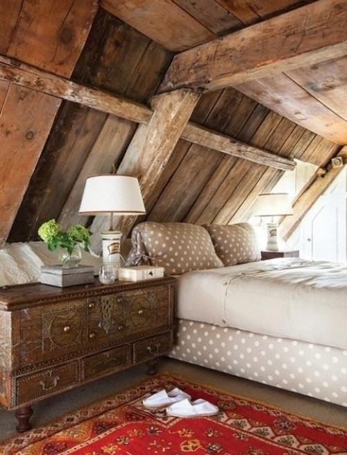 Деревенский стиль в интерьере спальни