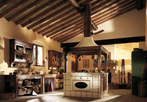 Большая кухня в сельском стиле фото