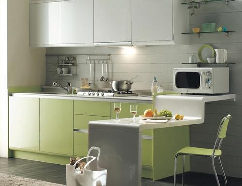 Современная кухня фисташкового цвета