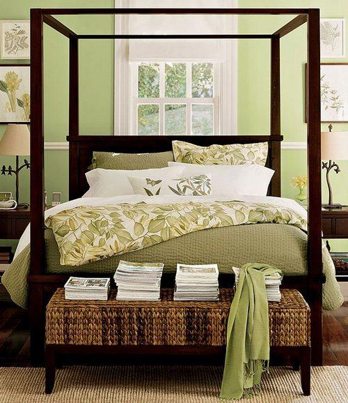 фисташковый цвет в интерьере спальни