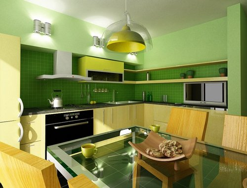 Сочетание фисташкового, зеленого и желтого