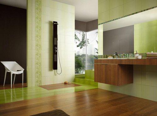 Сочетание фисташкового цвета в интерьере ванной комнаты