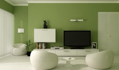 Оливково-белый интерьер современной гостиной