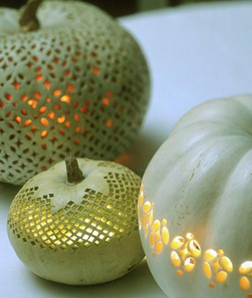 Ажурные фонарики из тыквы