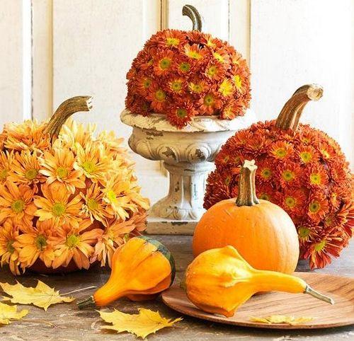 Декор тыквы цветами
