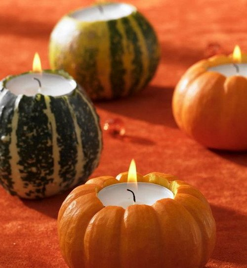 Свечи из маленькой тыквы фото