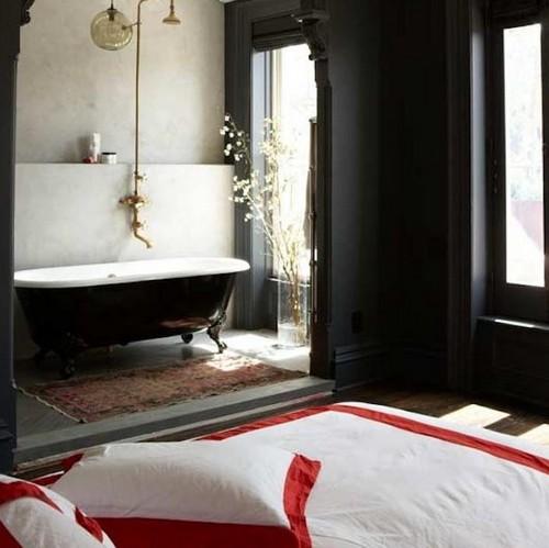 спальня совмещенная с ванной комнатой