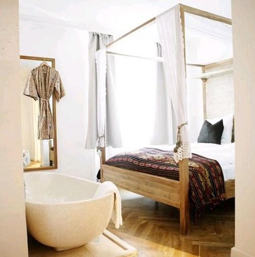 дизайн спальни с ванной