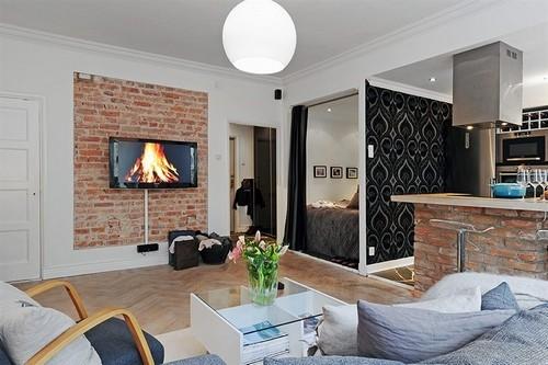 Кирпич в интерьере квартиры-студии