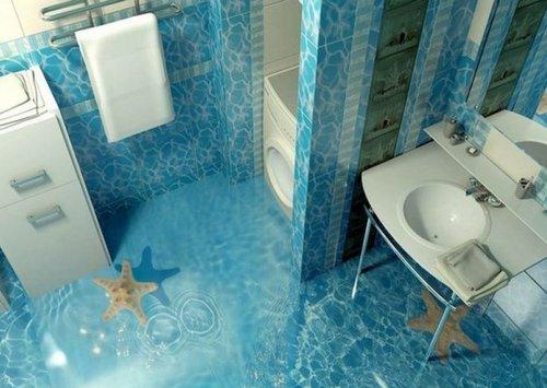 3Д пол в ванной комнате фото