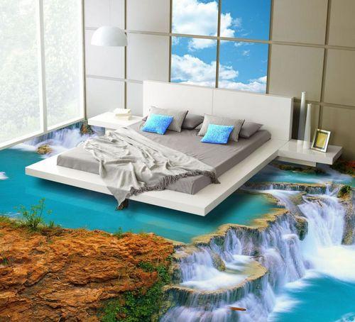 3D полы для спальни водопад