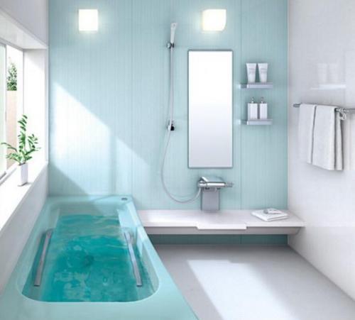 Цвет морской волны в интерьере ванной комнаты