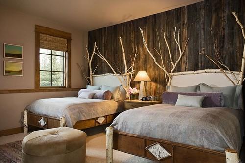 Ветки в интерьере спальни