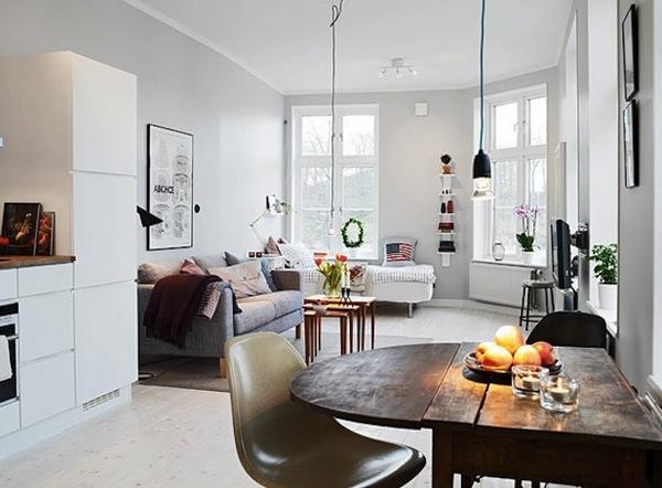 Дизайн интерьера квартиры-студии в белых тонах фото