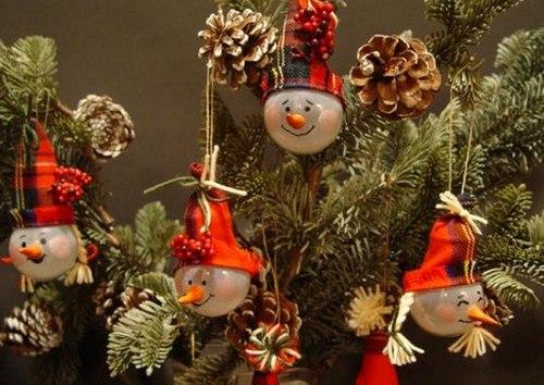 Забавные снеговички из лампочек фото
