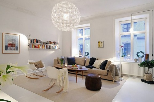 Кресла-качалки в современном интерьере гостиной