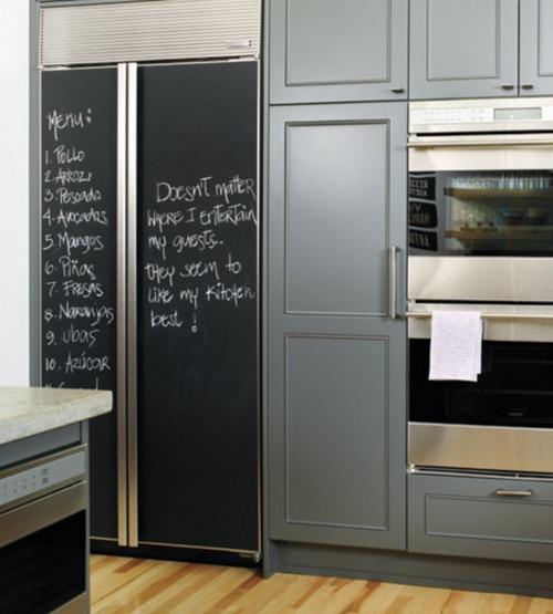 Черная меловая доска на панелях холодильника