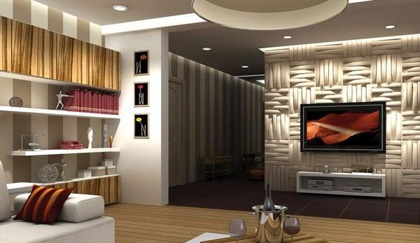 3D панели для стен в современном интерьере