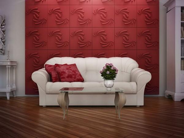 Красные 3D панели для стен фото