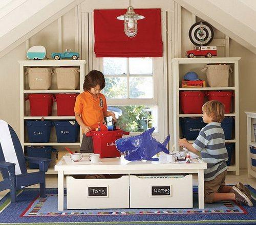 Игровая зона в комнате для двойняшек мальчиков фото